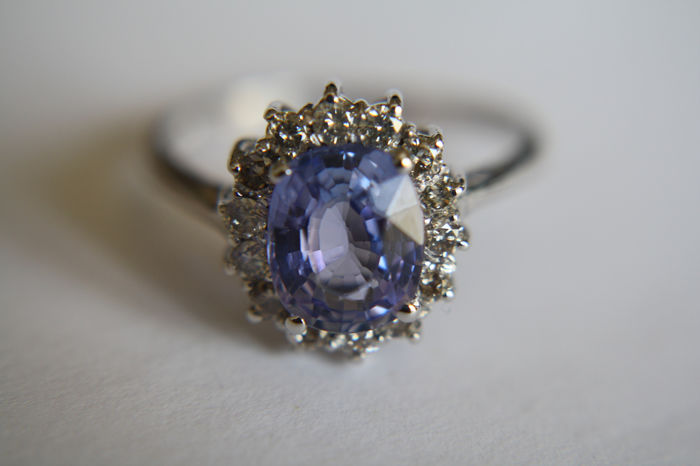 18 kt. White gold - Ring - 2.18 ct Tanzanite - Diamonds