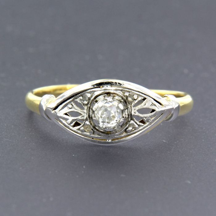 18 karaat Geel goud, Witgoud - Ring - 0.16 ct Diamant