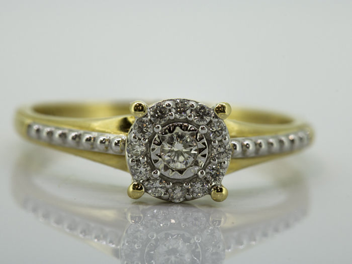 18 quilates Oro amarillo - Anillo - 0.16 ct Diamante