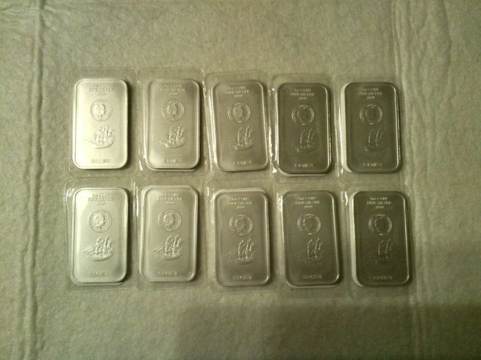 10 x 1 OZ - Argento .999 - Cook Islands - Seal+Certificato