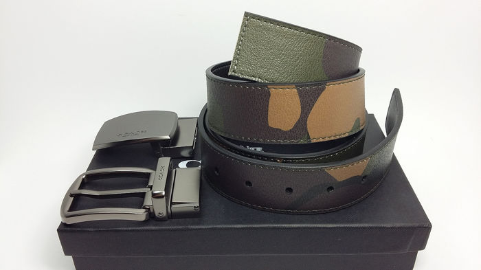 Coach Reversible Military Belt Box Set With Two Buckles
