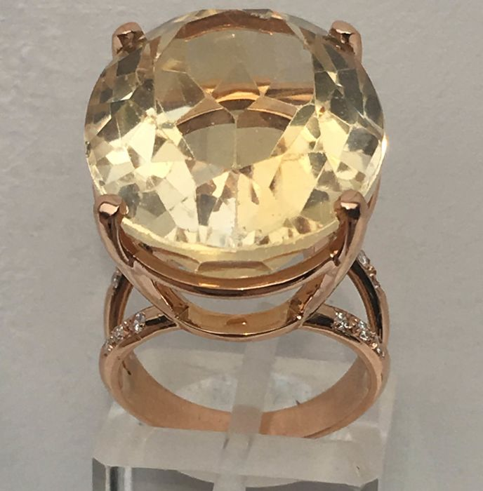 18 karaat Rosé goud - Ring - 20.26 ct Citrien - Diamanten