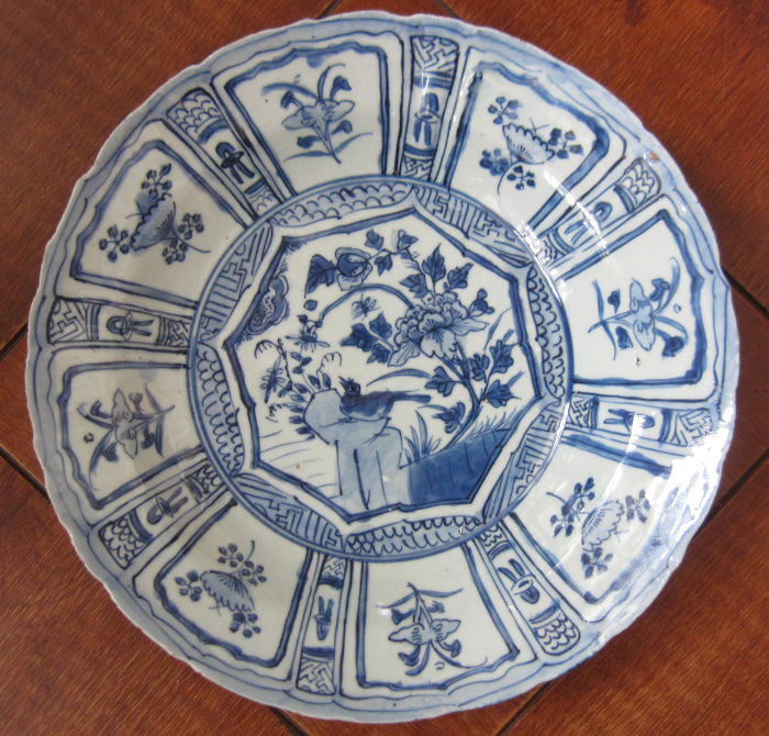 Dish - Kraak porselein - Porselein - Blue and White - China - 17e eeuw