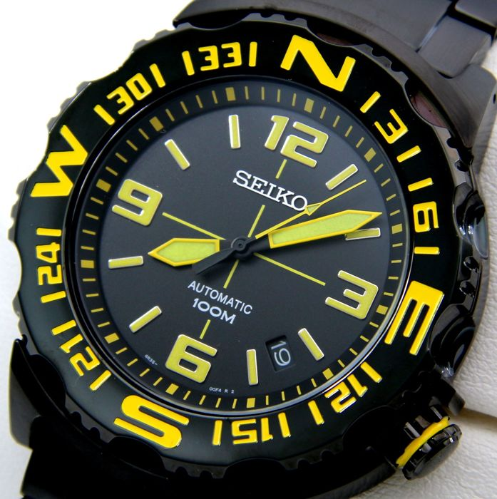 "Seiko - Automatic 23 Jewels ""Superior"" ""All Black -Yellow"" - ""NO RESERVE PRICE"" - Heren - 2011-heden"