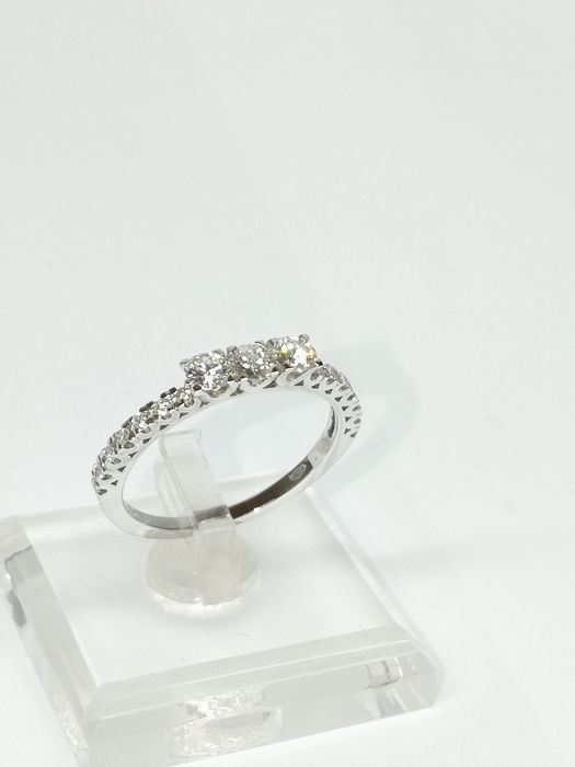 18 quilates Oro blanco - Anillo - 0.60 ct Diamante - Diamantes