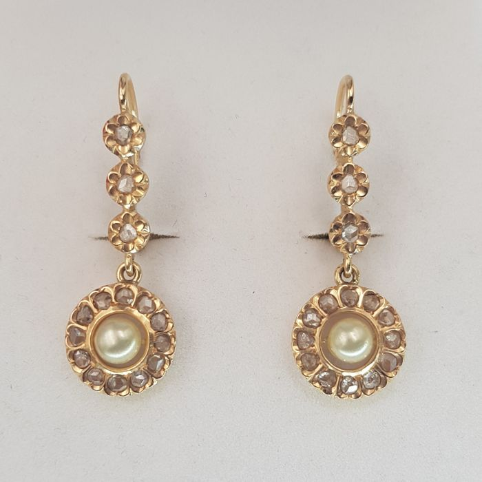 18 kt. Yellow gold - Earrings - 0.60 ct Diamond