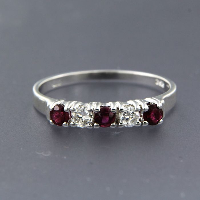 18 carats Or blanc - Bague - 0.30 ct Rubis - Diamants