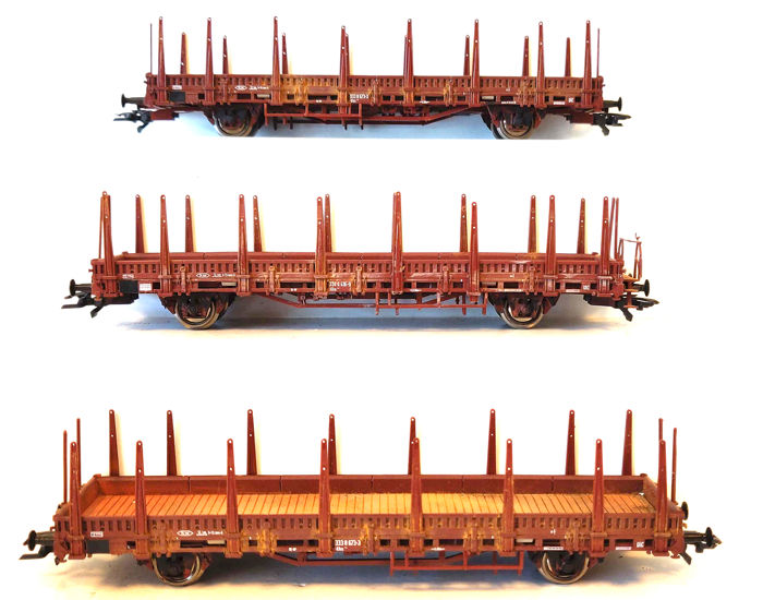 Roco H0 - 47620/46306 - Freight carriage - Three stake cars - DB
