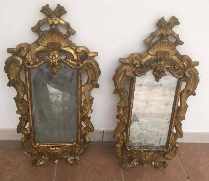 Pair of Venetian mirrors (2) - Rococo - Gilt, Wood - 18th century