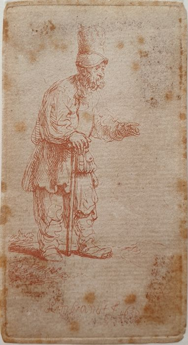 Rembrandt Harmensz van Rijn (1606-1669) - A Peasant in a High Cap, Standing Leaning on a Stick