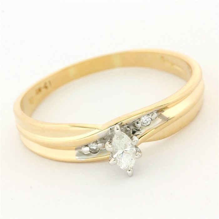 14 kt. Yellow gold - Engagement Ring  - 0.10 ct Diamond