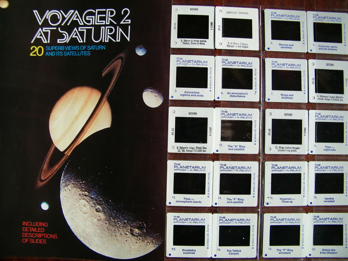 Twenty slides of Saturn, two NASA photos - recordings made by Voyager-2 in 1981 - kodak photo and film