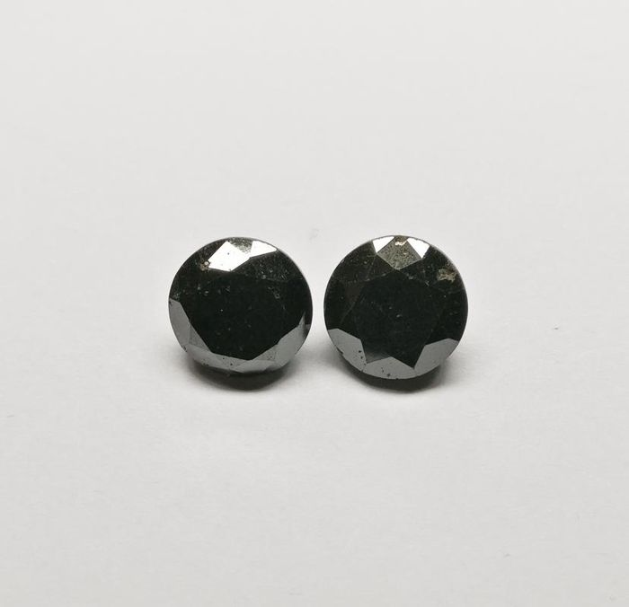 2 pcs Diamanten - 16.49 ct - Rond - Kleurbehandeld - fancy black - N/A