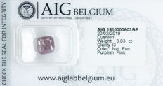 Diamante - 3.03 ct - Natural fantasia rosa purplish - I3