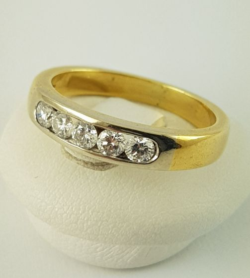 18 kt. Yellow gold - Diamond Ring - 750 Gold - 5 Diamonds, 0.25 ct., Ring - 0.25 ct Diamond