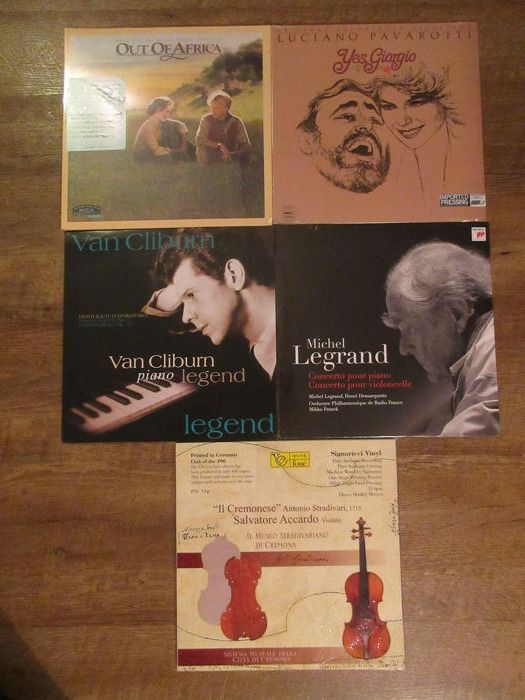 Salvatore Accardo - Van Cliburn - Out of africa OST - Michel Legrand - Luciano Pavarotti - 5 LP lot classical music - LP's - 1982/2016