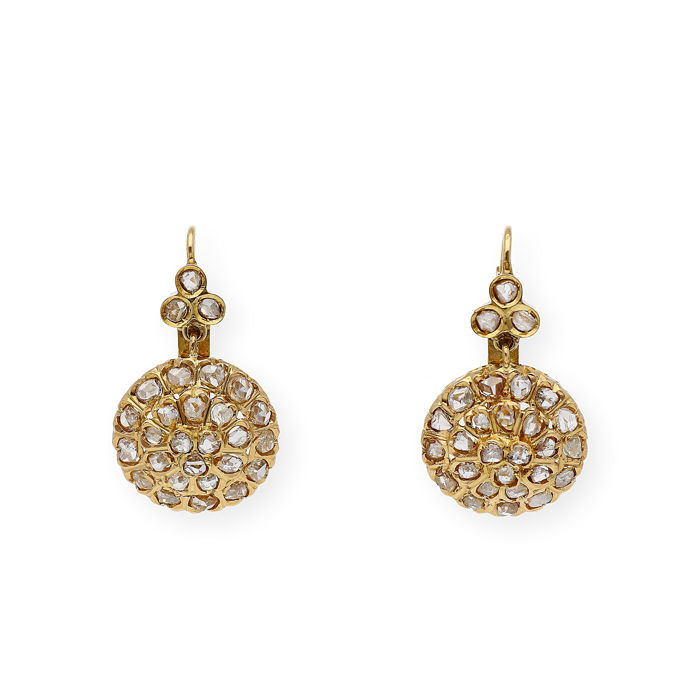 18 quilates Oro amarillo - Pendientes - 1.40 ct Diamante