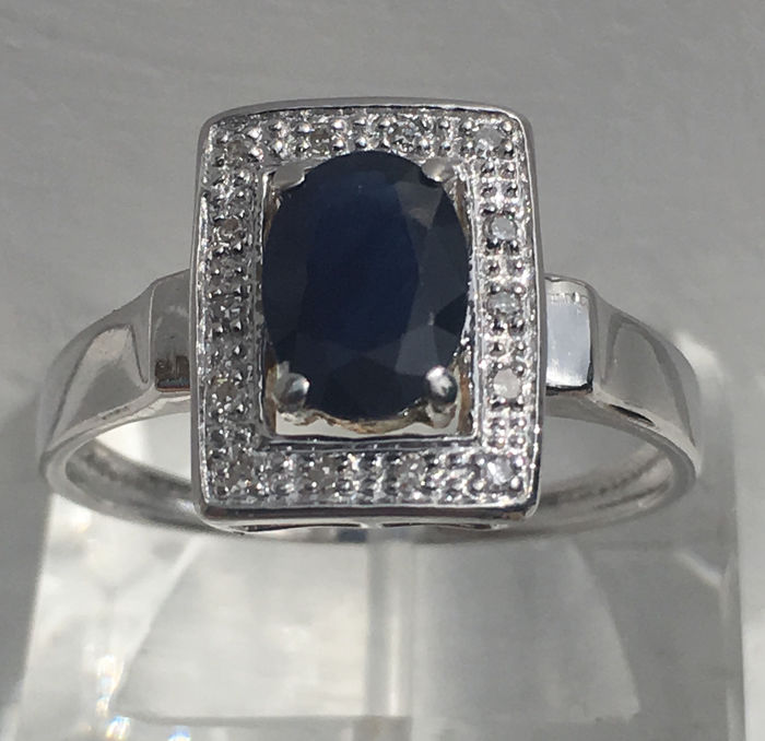 18 kt. White gold - Ring - 1.80 ct Sapphire - Diamonds