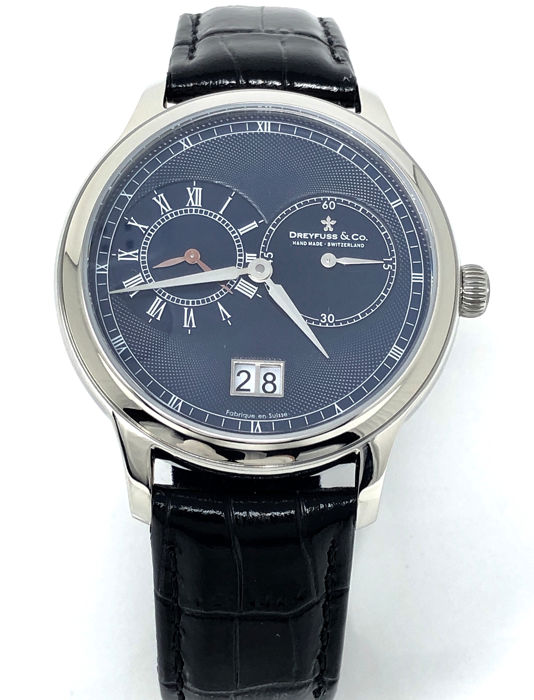 Dreyfuss & Co. - 1946 GMT Watch Blue with Leather Strap - DGS00120/05 - Men - BRAND NEW