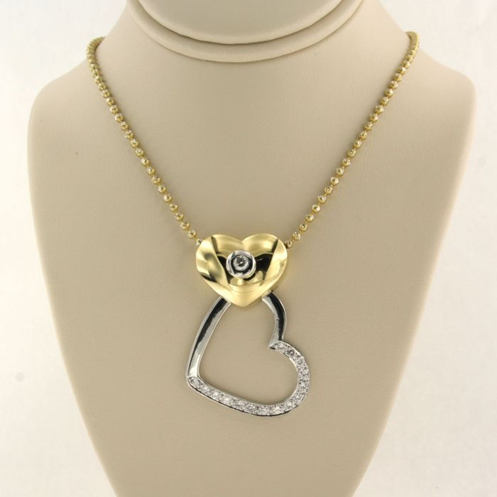 14k collier, 18k hanger White gold, Yellow gold - Necklace with pendant - 0.40 ct Diamond