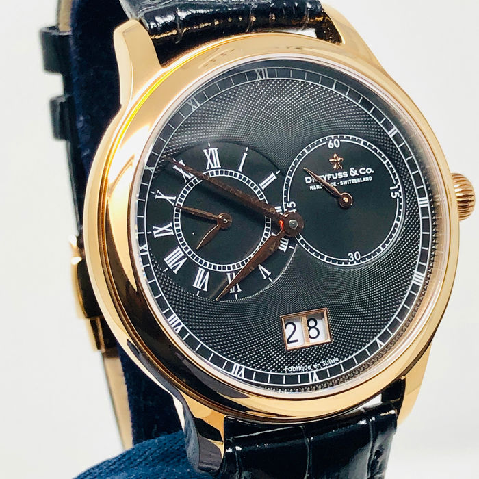 "Dreyfuss & Co. - 1946 GMT Watch Black Rose Gold ""NO RESERVE PRICE"" - DGS00122/04 - Men - BRAND NEW"