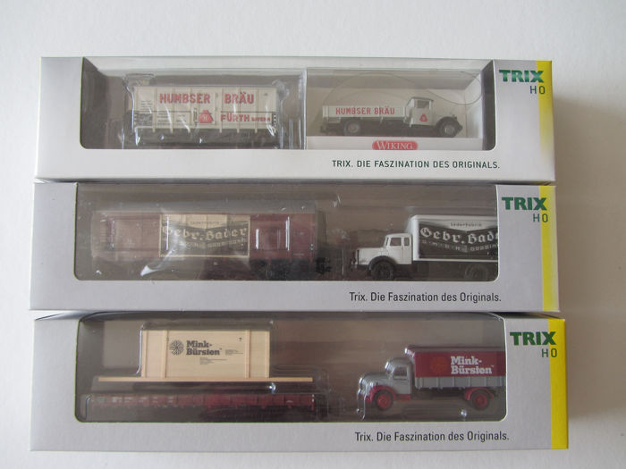 Trix H0 - 24083/24089/24093 - Freight carriage - 3 museum cars: 2008/2011/2012 - DB