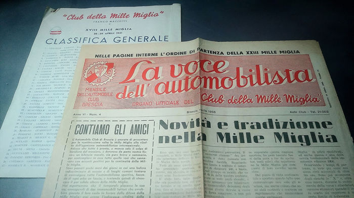 document - MILLE MIGLIA 18° Classifica Generale e La voce dell'Automobilista - 1951-1956