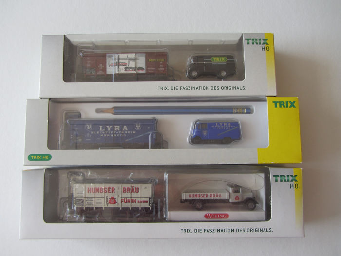 Trix H0 - 24081/24083/24085 - Freight carriage - 3 Museum cars: 2007/2008/2009 - DB