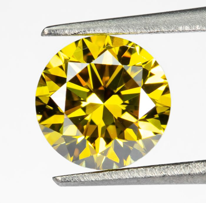 Diamond - 0.54 ct - Natural Fancy VIVID Yellow - VVS1