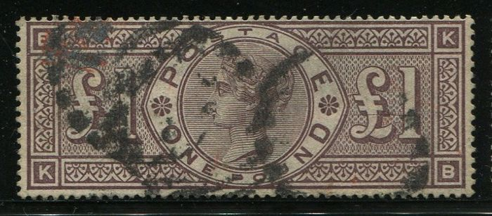 Great Britain - England 1884 - £1 brown-lilac watermark crowns - Stanley Gibbons SG185