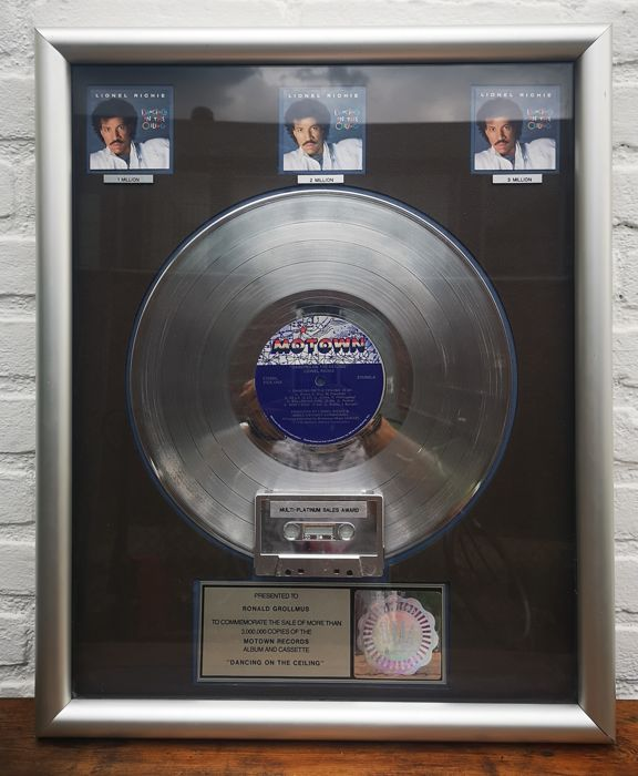 Lionel Richie - Dancing On THe Ceiling - Official RIAA award - 1985/1985
