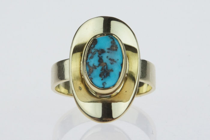 14 kt. Yellow gold - Ring Turquoise
