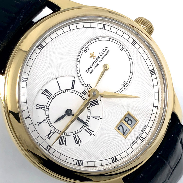 Dreyfuss & Co. - 1946 GMT 2 Timezones Yellow Gold Swiss Made  - DGS00121/06 - Men - BRAND NEW