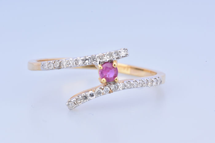 18 kt. Yellow gold - Ring Diamond - Ruby