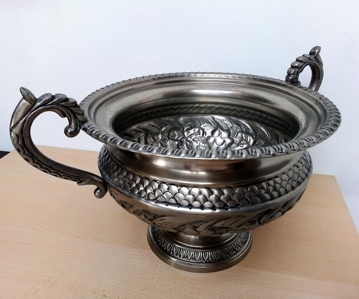 Old floral French Garden table jardinierre with 2 ears - silver tin? unpolished.