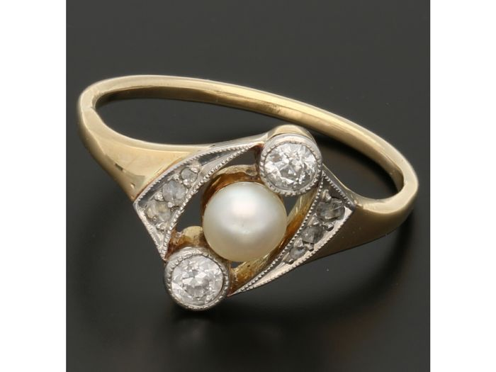 14 kt Gold - Ring Diamant - Perle
