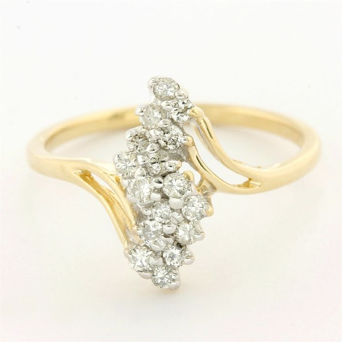 14 quilates Oro amarillo - Anillo - 0.15 ct Diamante
