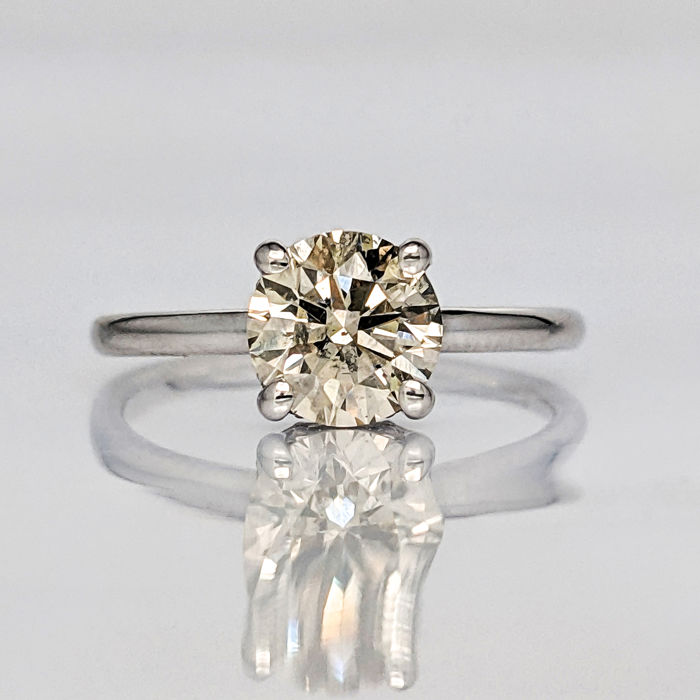 18 kt. White gold - Ring - 1.50 ct Diamond - No Reserve Price