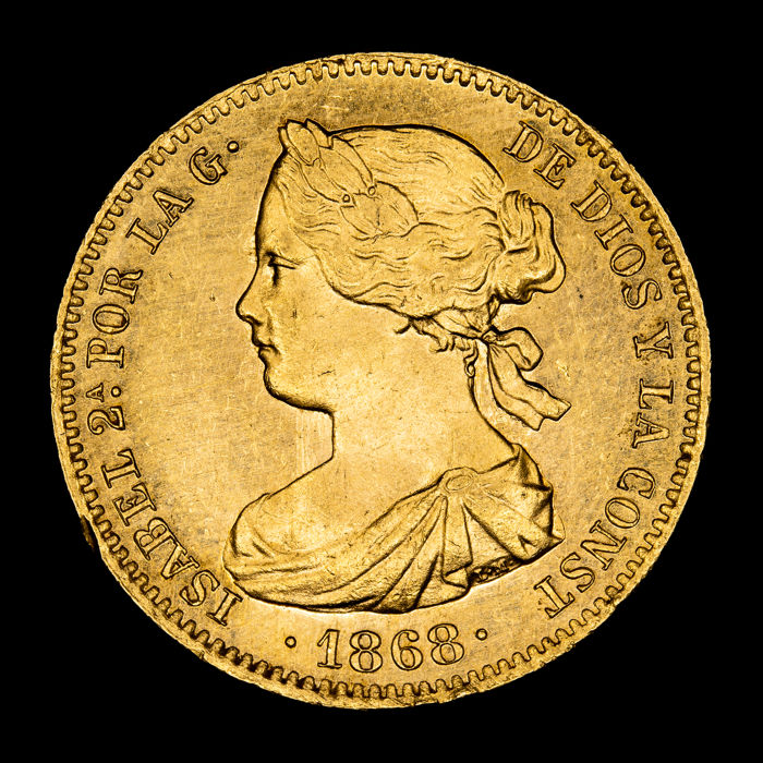 Spain - 10 Escudos - Isabel II (1833 - 1868). Madrid. 1868 - Gold