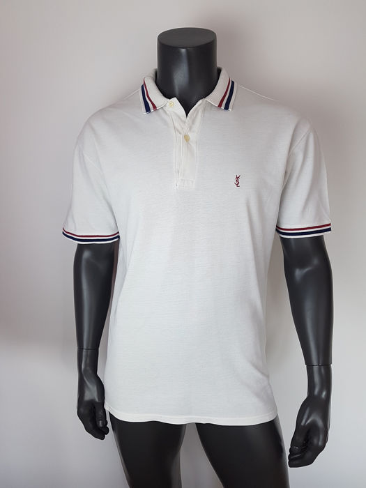 f776eab2 Yves Saint Laurent - three-color - logo patch polo - Size: L - Catawiki