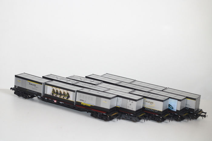 Roco H0 - Freight carriage - 5 Opel Millenium Express cars - DB