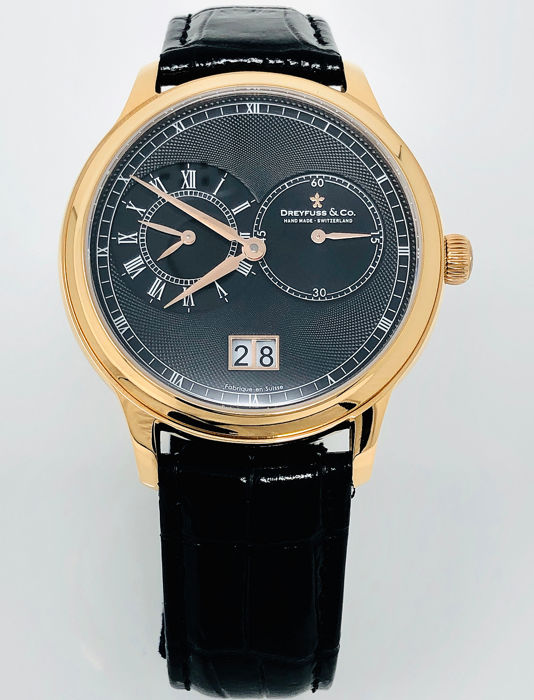Dreyfuss & Co. - 1946 GMT Two Timezones Black Dial Rose Gold Leather strap Swiss Made  - DGS00122/04 - Homme - BRAND NEW