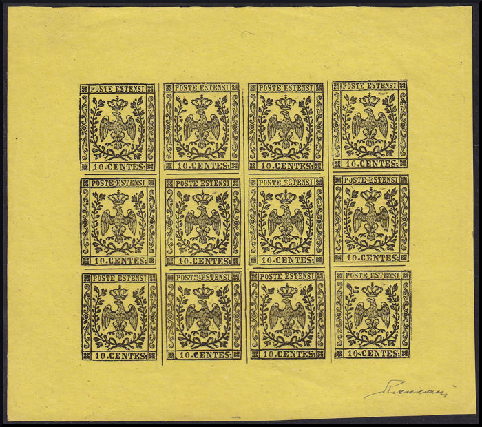Modena 1852 - Specimen stamp of c. 10 on thin yellow paper, minisheet of 12 pieces - Sassone N. P13