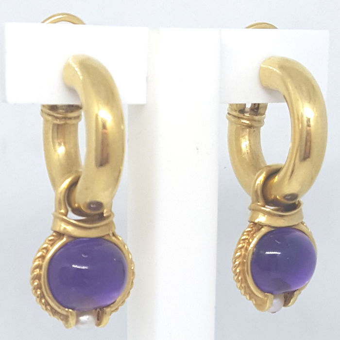 18 kt. Yellow gold - Earrings - 20.80 ct Amethyst - Pearl