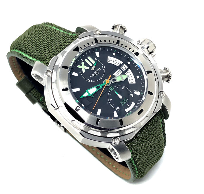 Visconti - Full Dive Chrono 500 Steel Green Tone 2 Straps - KW51-04-Canvas - Uomo - NEW