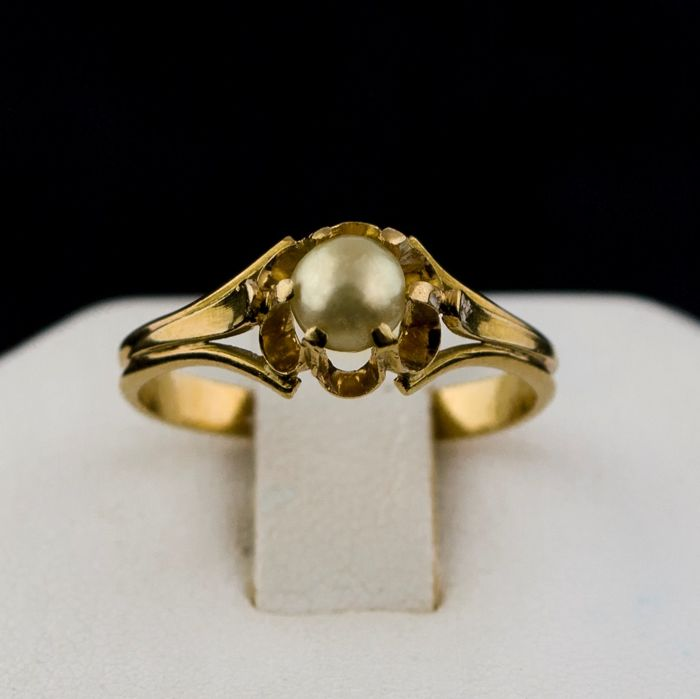 Authentic Antique - 18 kt. Yellow gold - Ring Pearl