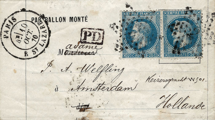 """France 1870 - """"Jules Favre"""" No. 1 or """"Jean Bart"""" No. 2 balloon mail, bound for Holland - Yvert 29"""