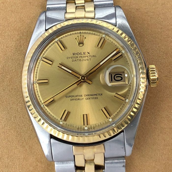 Rolex - Datejust, Fat Boy, Pie-Pan Champagne Sigma Dial - 1600 - Unisex - 1970-1979