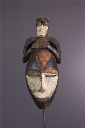 Ancient Tsogho mask with crest - Wood - Gabon