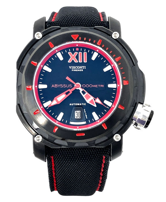 Visconti - Abyssus Full Dive 1000 Black PVD Red 2 Straps - KW51-03-Canvas - Men - BRAND NEW